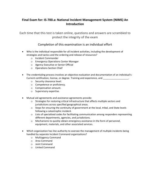 nims 702 test questions and answers