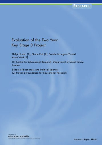 Evaluation of the Two Year Key Stage 3 Project - Communities and ...