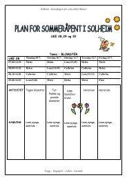 Plan for sommeråpent i Solheim barnehage. - Gran kommune