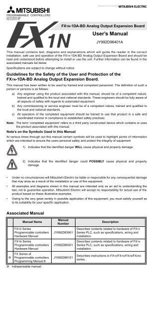 FX1N-1DA-BD Analog Output Expansion Board User's Manual
