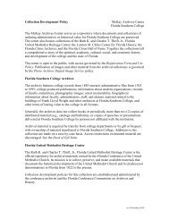 Archives Collection Development Policy & Forms - Florida Southern ...