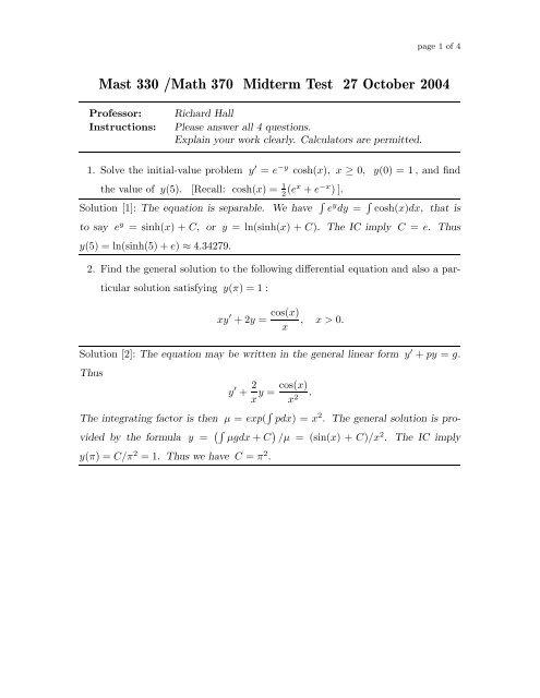 Mast 330 /Math 370 Midterm Test 27 October 2004