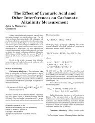 The Effect of Cyanuric Acid and Other Interferences on Carbonate ...