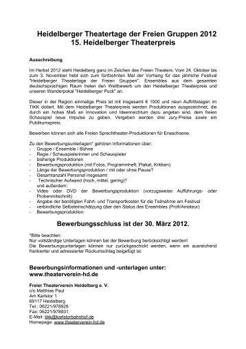 Heidelberger Theatertage der Freien Gruppen 2012 15 ...