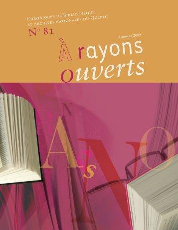 no 81 a rayons ouverts - Bibliothèque et Archives nationales du ...