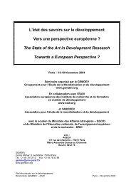 L'état des savoirs sur le développement - gemdev