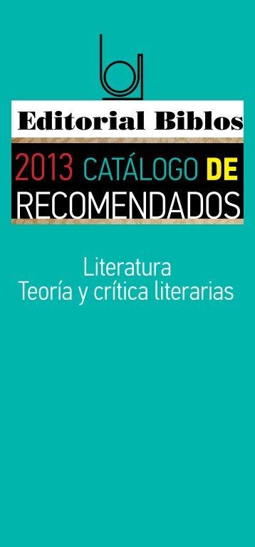 Literatura + críticas literarias - Editorial Biblos