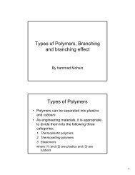 Types of Polymers, Branching and branching effect Types of Polymers