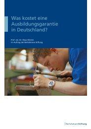 Was kostet eine Ausbildungsgarantie in Deutschland? - bag arbeit eV
