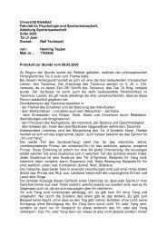 Unversität Bielefeld Fakultät für Psychologie und Sportwissenschaft ...