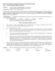 Unit 1 Notes - Honors Chemistry Coursework
