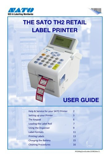 THE SATO TH2 RETAIL LABEL PRINTER USER GUIDE