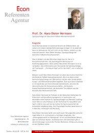 Prof. Dr. Hans-Dieter Hermann - Econ Referenten-Agentur
