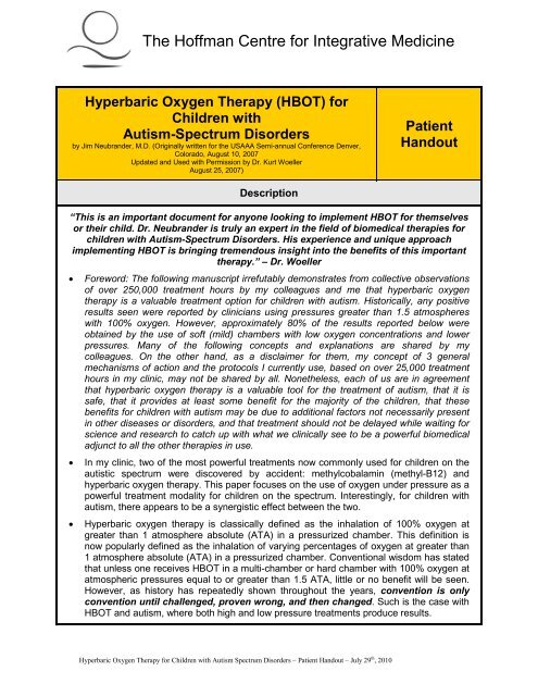 Hyperbaric Oxygen Therapy (HBOT) - Hoffman Centre for Integrative ...