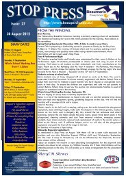 Issue: 27 30 August 2012 - Beaumaris Primary School