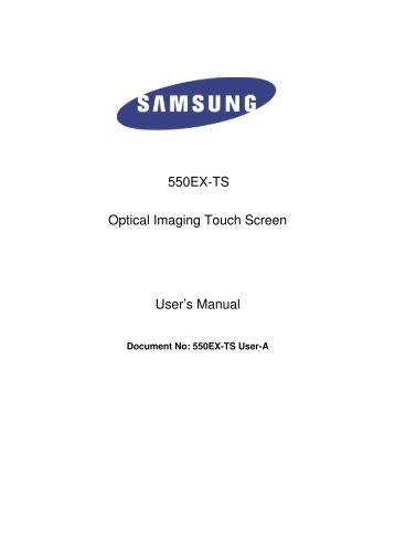 550EX-TS Optical Imaging Touch Screen User's Manual - DisplayLite