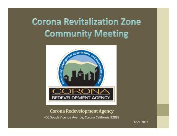 Corona Redevelopment Agency - City Of Corona