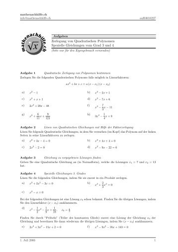 Quadratische Gleichungen: Faktorzerlegung von quadratischen ...