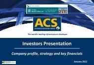 The world's leading infrastructure developer Disclaimer - Grupo ACS