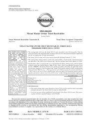 $900000000 Nissan Master Owner Trust Receivables