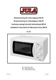 Bruksanvisning för mikrovågsugn 800 W Bruksanvisning for ... - Jula