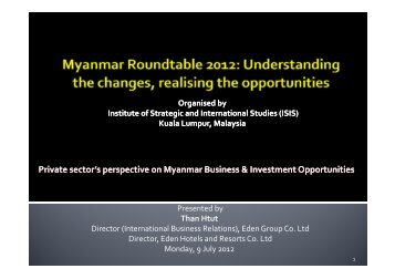 Private sector's perspective on Myanmar Business ... - ISIS Malaysia