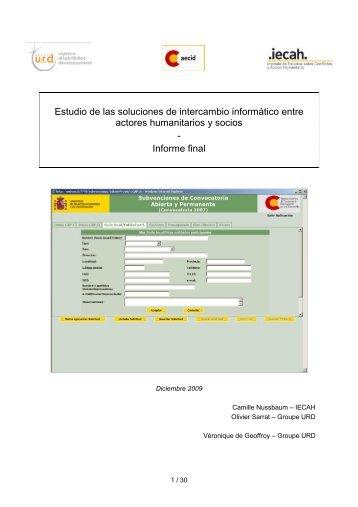 Estudio de las soluciones de intercambio informático ... - Groupe URD