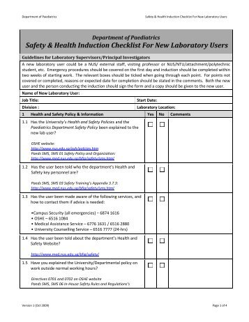 Induction procedure new starter checklist name for Induction procedure template