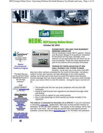October 28, 2010 Page 1 of 12 NEFI Energy Online News ... - PriMedia