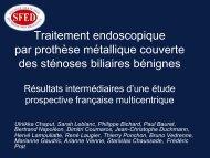 Traitement endoscopique des sténoses biliaires bénignes ... - SFED