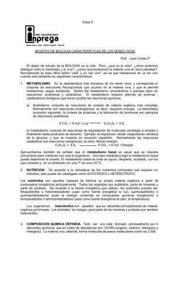 """""""Clase 2: Características de los Seres Vivos""""."""