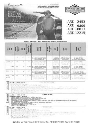 Manuale montaggio Cilindri  Malossi - Ricambi Vespa