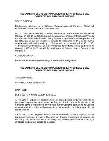 REGLAMENTO DEL REGISTRO PUBLICO DE LA ... - Testamentos