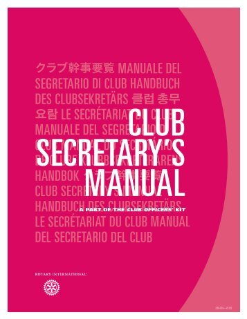 Club Secretary's Manual - Rotary International