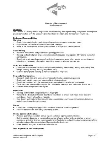 Director Of Development Job Description Summary The ...   Wingspan