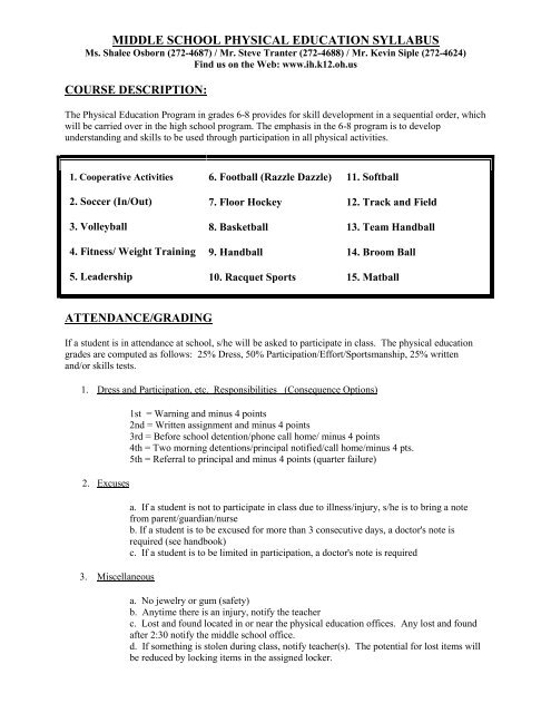 MIDDLE SCHOOL PHYSICAL EDUCATION SYLLABUS ThenewPE
