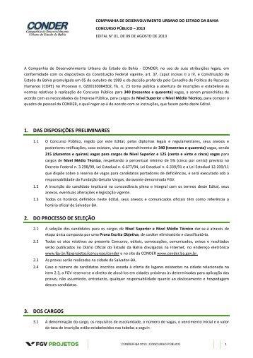 Edital 01/2013 - Conder - FGV Projetos - Fundação Getulio Vargas