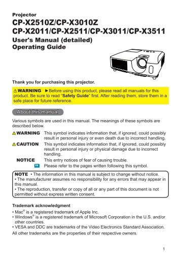 CP-X2511 Users Manual - Hitachi America, Ltd.