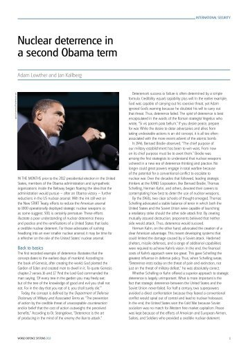 nuclear deterrence in a second obama term - Center for The ...