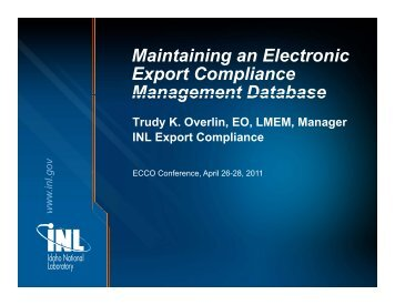 Maintaining an Electronic Maintaining an Electronic Export ...