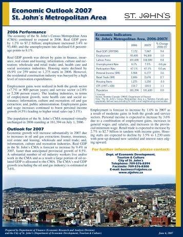 Economic Outlook 2007 St. John's Metropolitan Area - Finance