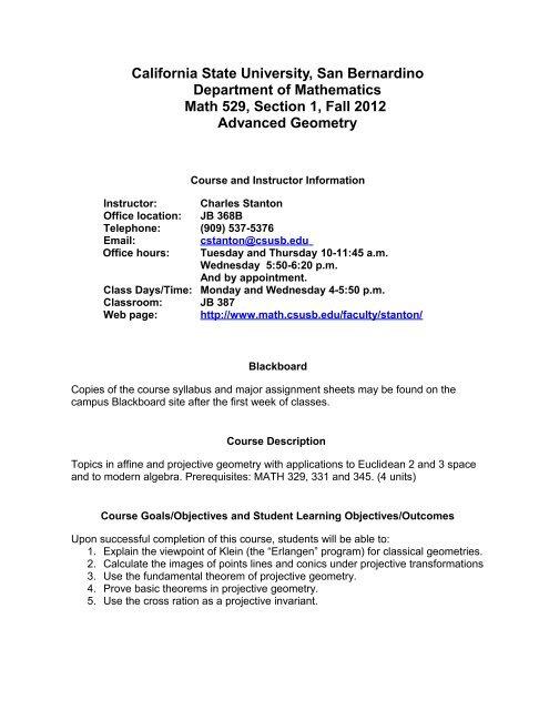 CSUSB Mathematics Syllabus - CSUSB Math - Department of