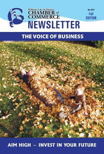 Newsletter Fall 2012 - Williams Lake Chamber of Commerce