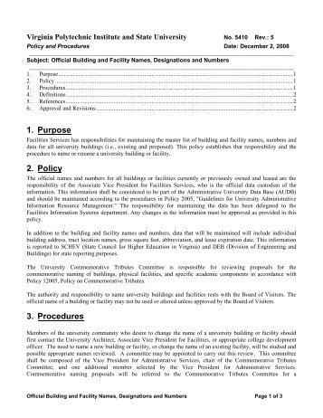 1. Purpose 2. Policy 3. Procedures - University Policies