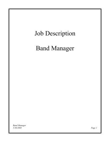 Job Description Band Manager