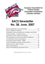 EACS Newsletter No. 38, June, 2007 - Universität Heidelberg