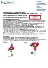 Einspeisearmatur Bedienungsanleitung - ZR Armaturen GmbH