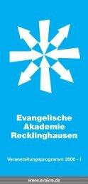 Evangelische Akademie Recklinghausen Veranstaltungsprogramm ...