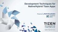 Development Techniques for Native/Hybrid Tizen Apps