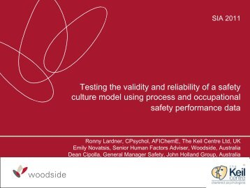 Testing The Validity And Reliability Of A safety Culture